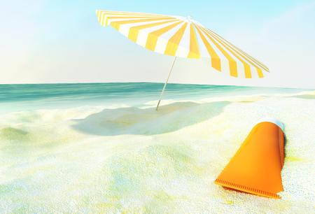 Beach scene with sunscreen and sun umbrella against ocean background.