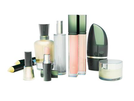 cremas faciales: maquillaje aislado en blanco Foto de archivo