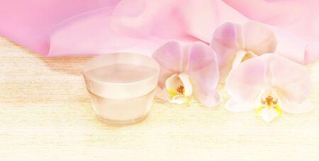 cremas faciales: crema para la cara con la flor de la orquídea en la mesa de madera Foto de archivo