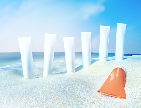 cremas faciales: Beach scene with sunscreens against ocean background.