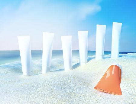 cremas faciales: Escena de la playa con filtros solares contra el fondo del océano. Foto de archivo