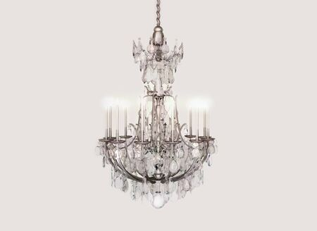 chandelier isolated: Chandelier, crystal, candles, celebration. Stock Photo