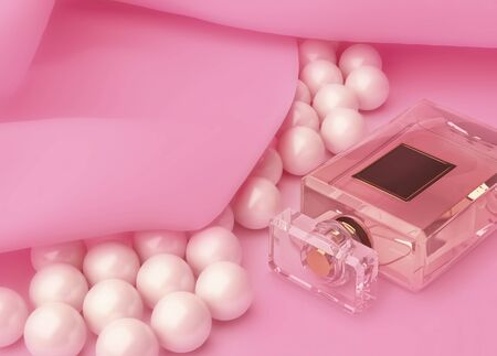 perfume and pearls on pink silk