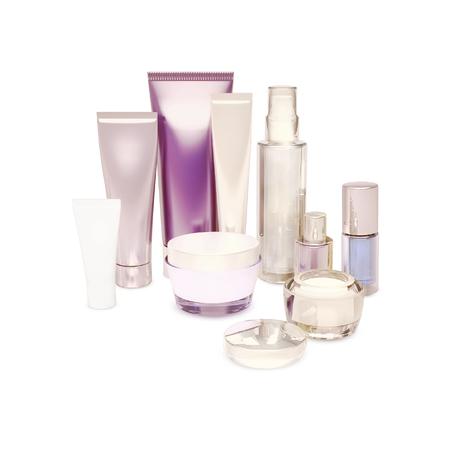 cremas faciales: cuidado de la belleza de la piel aislados en blanco