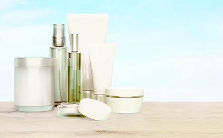 cremas faciales: Cuidado de la piel sobre una mesa de madera sobre un fondo de cielo azul. Foto de archivo