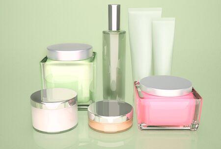cremas faciales: Productos para el cuidado de la piel Foto de archivo