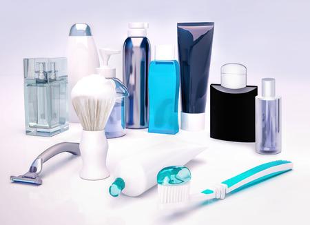 cremas faciales: Set for morning hygiene. Set for morning hygiene. Man face care. Foto de archivo