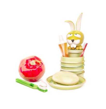 cremas faciales: niños de higiene mañana y manzana roja aislados en blanco Foto de archivo