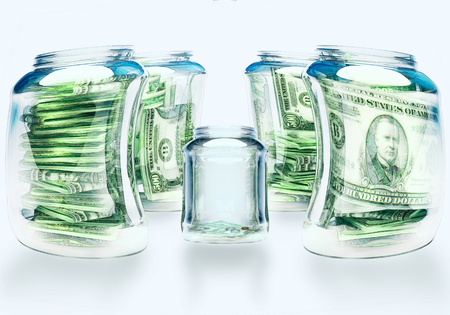 abject: Glass flasks with money and empty flask - wealth and poverty concept.