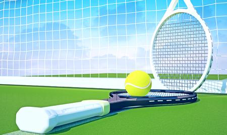 Tennis; racket; tennis grass court, sky