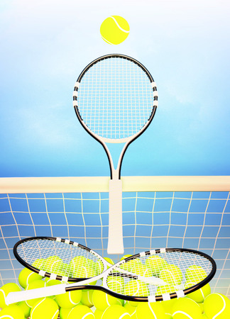 Tennis; rackets; court; sky, spheres; game. Stock Photo