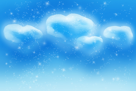 Cloudscape with clouds and stars with distant galaxies.