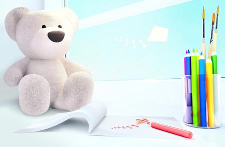 Teddy bear,  album, colored pencils on the windowsill.