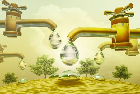 unsound: Water drop drops out of taps. Water drop and spill. Trees in the desert. Stock Photo