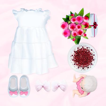 Baby-Kleidung und Zubehör auf weißem Hintergrund. Geburtstag.
