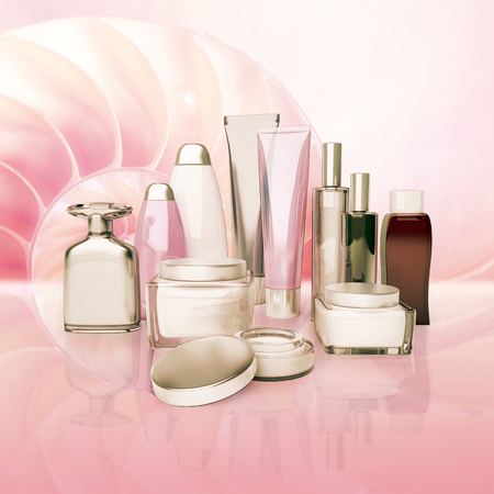 basic care: Daily, beauty care cosmetic. Face cream, eye cream, serum and lip balm. Skin care,  isolated. Stock Photo
