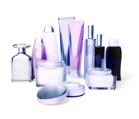 Daily, beauty care cosmetic. Face cream, eye cream, serum and lip balm. Skin care,  isolated. Stock Photo