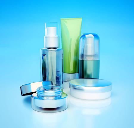 Set of cosmetic cream. Daily, beauty care cosmetic. Face cream, eye cream, serum and lip balm.