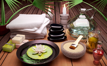 kaolin: Spa still life with burning candles, clay mask and flower of an water Lily on wooden background.