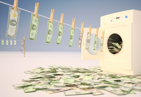 Money Laundering, Currency, Clothesline, Washing machine, Handcuffs.