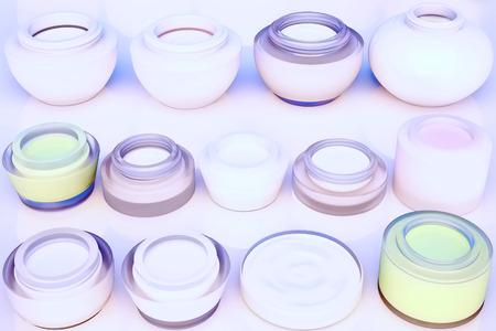 cremas faciales: Lines of jars of face creams. The view from the top.  Foto de archivo