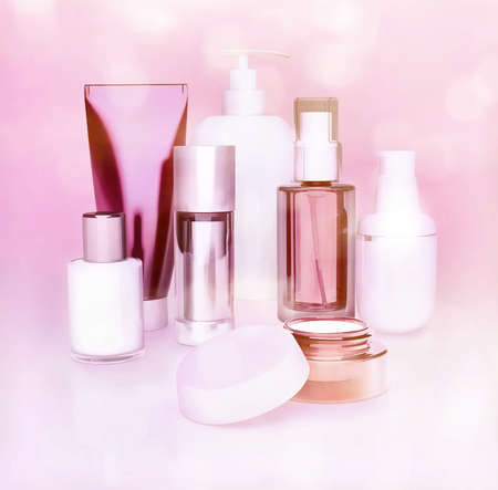 Set of cosmetic cream. Daily, beauty care cosmetic. Face cream, eye cream, serum and lip balm. Pink background. Stock Photo