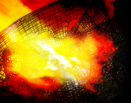 destructive: Destruction of structures in fire. Abstract background. Stock Photo