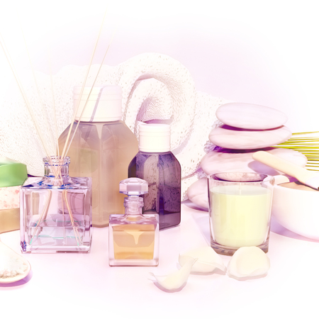 essences: Spa products on light wooden background.