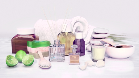 essences: Spa still life with stack of stones, candle and cosmetic clay on light gray background. Stock Photo