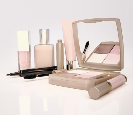 Makeup set on light background. Mascara, lip gloss, pencil, eye shadow, concealer, cream  located on a light gray background.