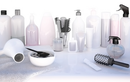 Hairdresser Accessories for coloring hair on a white table. 版權商用圖片