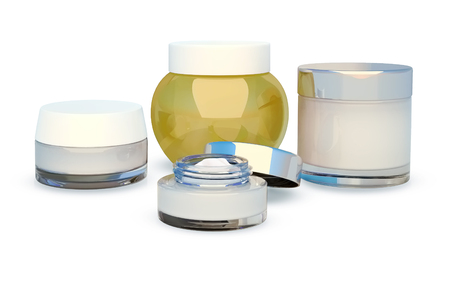 Set of cosmetic face cream. White background.
