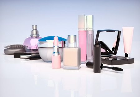 Makeup set on light background. Mascara, lipstick, pencil, eye shadow, perfume bottle, comb, concealer, cream  located on a light gray-blue background. Stock Photo
