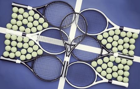 Tennis rackets and balls. Tennis school. Diagonal.  Stock Photo