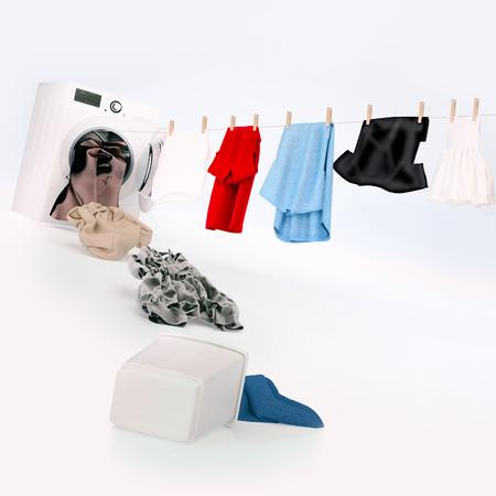 Het hangen van de doek op een kabel die uit de wasmachine komt, vuile doeksprong in de wasmachine. Plein.