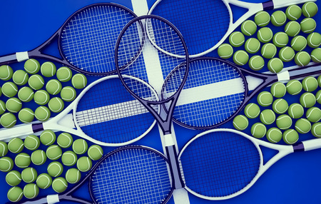 Tennis rackets with balls on hard surface court. Horizontal.