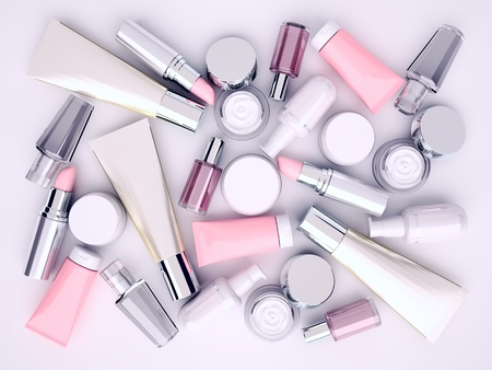 Cosmetic cream, lipstik and perfume on gray background. Top view.