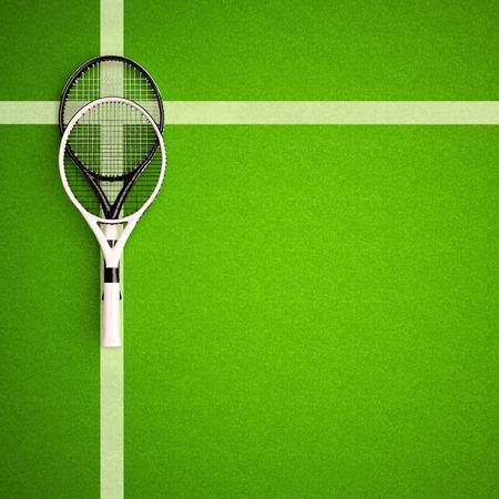 Raquettes de tennis sur le terrain de surface dure. Carré. Arrière-plans de tennis. Vue de dessus Banque d'images - 85495047