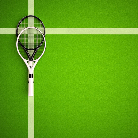 Tennis rackets on hard surface court. Square. Tennis backgrounds. Top view.
