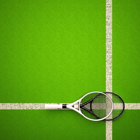 Tennis rackets on hard surface court. Square.