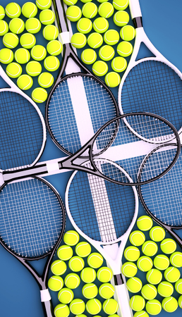 Tennis rackets with balls on hard surface court. Vertical. Stock Photo