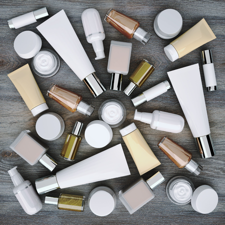 cremas faciales: Cosmetics products located on the wooden background.