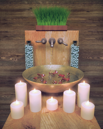 Composition of spa treatment with candlelight on wooden background. 版權商用圖片