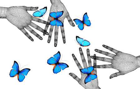 Butterflies on womans hands. In motion concept isolated on white background. Stock Photo