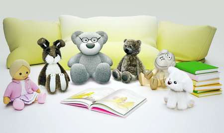 Children education and development happy childhood. Baby toys and interesting book located on light gray background.