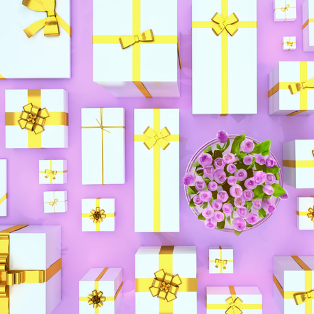 Gift boxes on  violet  background. Top view. Gift boxes and flower bouquet on color background. Festive background. Square. 版權商用圖片