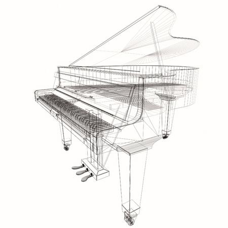 Keyboard musical instrument. Stylized grand piano. Musical emblem.