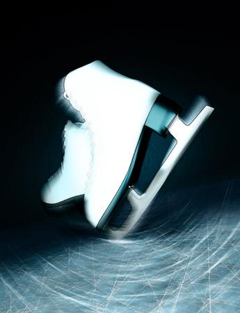 Pair of white Ice skates. Figure skates. Womens ice skates. Texture of ice surface.