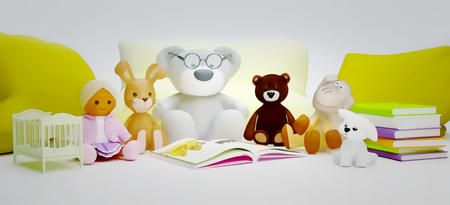 Children education and development happy childhood. Baby toys and interesting book located on light gray background. Standard-Bild
