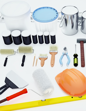 Tools for construction and renovation isolated on white background.  版權商用圖片
